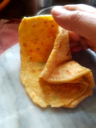 Fold the parantha when hot