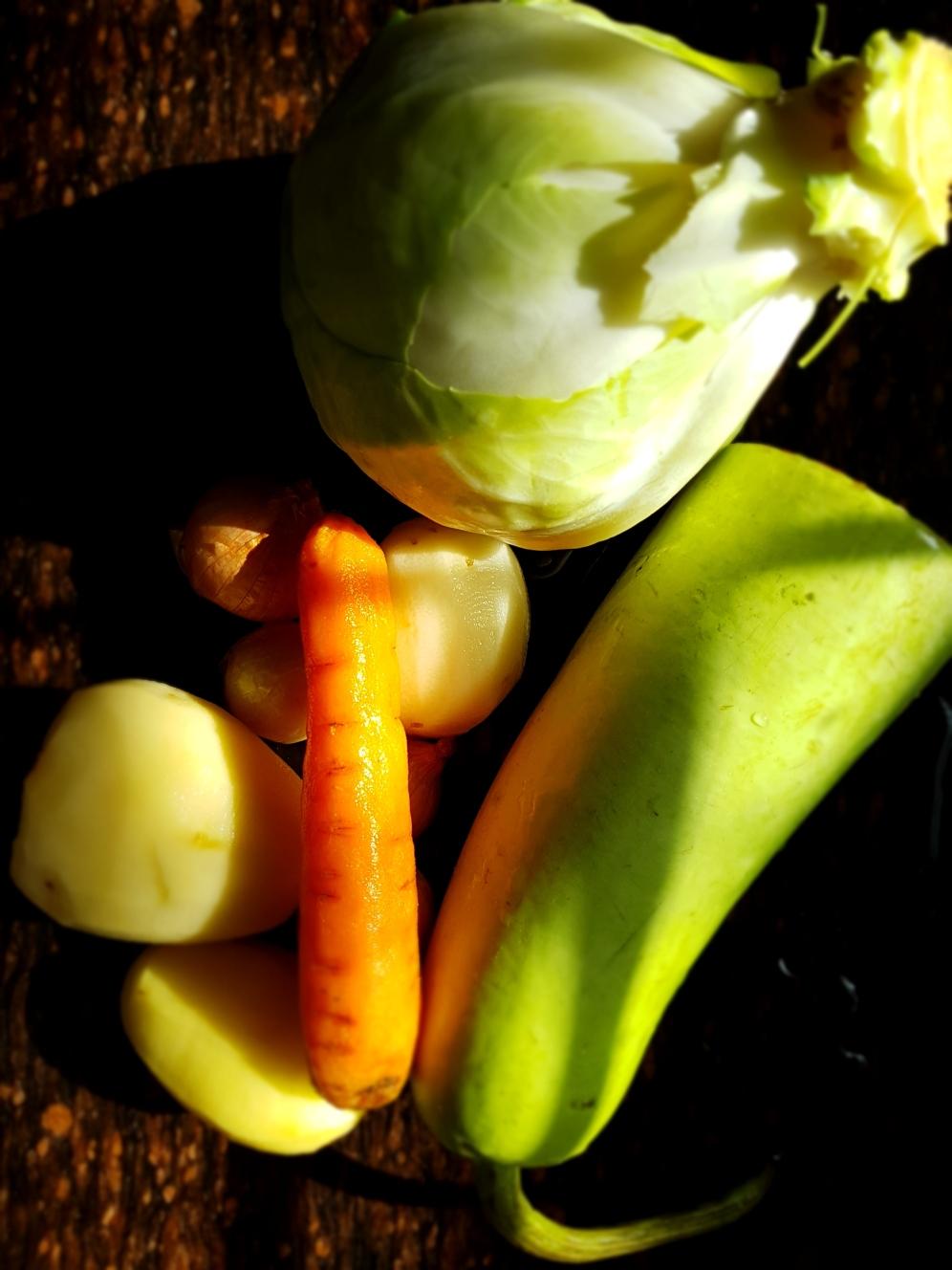 Bottle gourd, carrot, potato, cabbage onion
